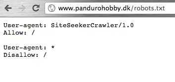 Panduro Hobby blokerer alt Google trafik