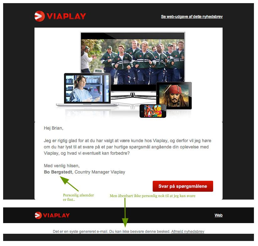 Viaplay har vist misforstået mail marketing